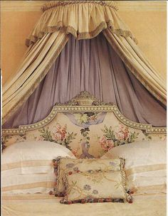 Lavender canopy: This iron crown canopy became an eye catching backdrop in the bedroom and alcove in which to take refuge to abandon intimate dream journeys.