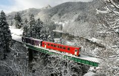 Through the heavy Akita snowfall, a train with one or two cars makes its way across bridges that span deep valleys and through tunnels that burrow into the heart of the mountains of the region. Japan Info, All About Japan, Hills And Valleys, Snow Covered Trees, Aomori, Mount Fuji, Train Travel, Stunning View, Akita