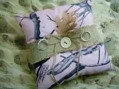 Pink Snow Camo Camouflage Burlap Wooden Button Wedding Ring Bearer Pillow