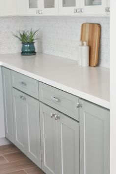caesarstone pure white quartz countertops Love the plain white countertops White Kitchen Cabinets, Kitchen Redo, New Kitchen, Kitchen Ideas, Kitchen Designs, Kitchen Facelift, Green Cabinets, Kitchen Updates, Kitchen Makeovers