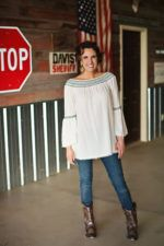 Ivory with Navy Stitch Bell Sleeve Top On or Off the Shoulder Design