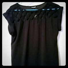 Beautiful Lattice Cut Out Top from Express Black top from Express with lattice cut-out design at the top. Short/cap sleeves. Never worn. New with tags. Express Tops Blouses