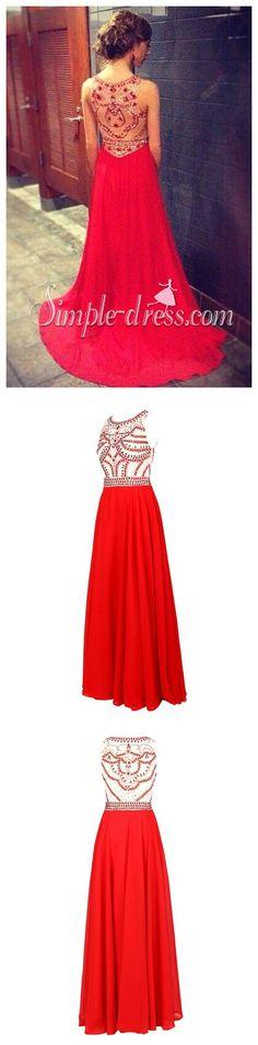 Illusion Back Elegant Beading A-line Prom Dress-Chiffon Long Sleeveless Evening…
