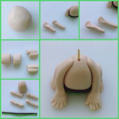 Spot is made from a mix of white and brown fondant, shaped into a body, arms and legs