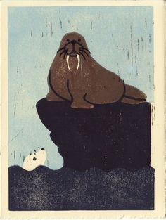 WALRUS and SEAL hand-pulled linocut illustration art print sold by Anna See. Shop more products from Anna See on Storenvy, the home of independent small businesses all over the world. Logo Animal, Art Et Illustration, Illustrations, Vintage Book Covers, Stencil Painting, Selling Art, Art Festival, Wood Blocks, Art Images