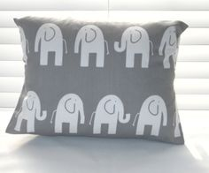 MOTHER'S DAY Gray Pillow  Gray Elephant Lumbar by PillowsByJanet, $14.00