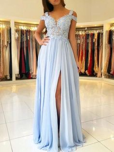Plus Size Prom Dress, Off the Shoulder Blue Lace Thigh Split Maxi Formal Ball Gown Long Chiffon Prom Dresses Shop plus-sized prom dresses for curvy figures and plus-size party dresses. Ball gowns for prom in plus sizes and short plus-sized prom dresses Bridesmaid Dresses Long Blue, A Line Prom Dresses, Cheap Prom Dresses, Chiffon Dresses, Light Blue Prom Dresses, Dress Prom, Dress Lace, Lace Chiffon, Wedding Dresses