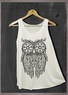 Dreamcatcher Owl Tattoo Shirt Tank Top Women Size by FourthSeason, $14.99