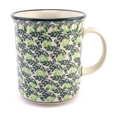 Beautiful green mug by Ceramika Artystyczna :) check http://slavicapottery.com to see more #PolishPottery