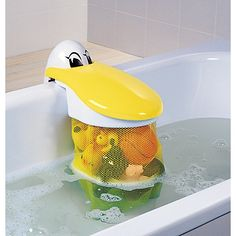 The absolute BEST bath-toy storage device EVER!  Not only is it adorable to look at, it is fun for the munchkin to open and close retrieving toys.  PLUS, it is easily relocated when the bath needs use from the household adults.  Pelican Bath Toy Storage Pouch | One Step Ahead