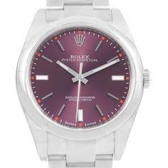16766 Rolex Oyster Perpetual 39 Red Grape Dial Steel Watch 114300 Unworn SwissWatchExpo