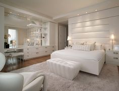 Apartment, Astonishing Luxury Apartment White Bedroom Design With Sofa Benches And White Rug Mix Large Wardrobe Furniture Equipped Big Mirror: Adorable Luxurious Apartment Design Displaying both Beauty and Comfort