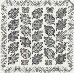 Oak Leaf Sampler Blackwork Kit from Classic Embroidery.