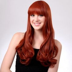 Capless Long Orange Full Bang Synthetic Curly Hair Wig cheap is hot sale, shop other cheap synthetic wigs online. Synthetic Curly Hair, Synthetic Lace Wigs, Long Curly Hair, Cheap Real Hair Wigs, Red Bangs, Natural Hair Styles, Long Hair Styles, Wig Styles, Professional Hairstyles
