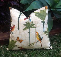These cushions are absolutely stunning! I highly recommend them to add a touch of fabulous to your indoor or outdoor room!  This is beautiful Tommy Bahama designer outdoor fabric with the design screen printed on polyester and perfect for outdoor settings and indoors in sunny rooms.  Screen printed on polyester, this outdoor fabric resists stains, is water resistant. Perfect fabric for decks, porches, patios, pool side and boat side. To maintain the life of the fabric bring indoors when not…