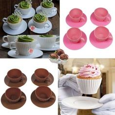 4Pc Silicone Cupcake Cups Cake Mould Chocolate Tea Cup Saucer Baking Muffin Mold