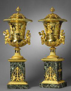 marble gilt bronze urn | richard_redding_pair_of_empire_gilt_bronze_covered_vases ...
