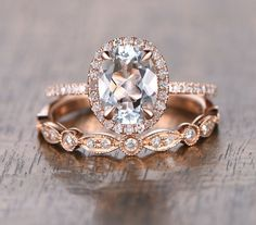 Oval Aquamarine Diamond, Rose Gold Art Deco HALF Eternity, Wedding set, Aquamarine Wedding set, Diamond, Rose Gold, Halo Diamond