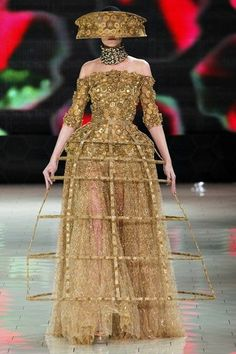 An Alexander McQueen, Spring/Summer 2013 representation of a Spanish farthingale, verdugado, inspired from the seventeenth century.