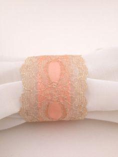 Vintage Lace Napkin Rings-Wedding Napkin Ring-Victorian Wedding-Peach Wedding Napkin Ring - Table Decoration -s-Set of 4