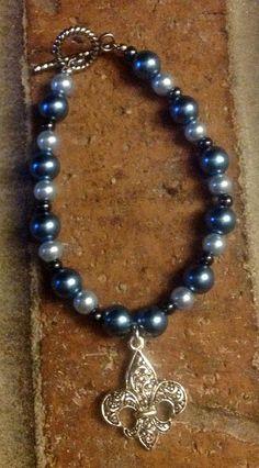 Fluer De Lis Blue Accented Bracelet on Etsy, $8.00