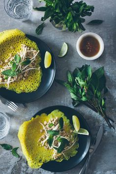Coconut turmeric crepes with lemongrass tofu (gluten-free).