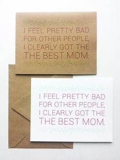 Funny Mothers Day Card Best Mom Ever Greeting by DaviePaperCo