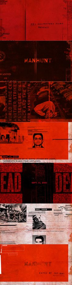 """Pitch 1 """"Collaged Timeline"""" for HBO doc """"Manhunt-The Search For Bin Laden"""" by Manija Emran at The Mill+"""