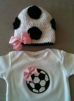Soccer outfit for baby girls  Soccer onesie w/ bow by rbsDesigns, $39.00