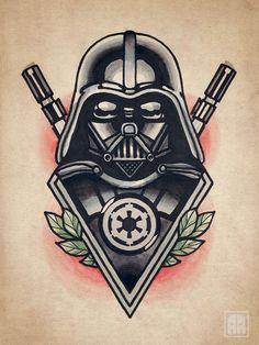 darth vader tattoo | Vader flash Traditional Star Wars Tattoo, Sevastopol Ageevtattoo, Art ...