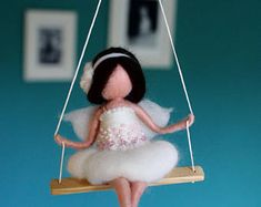 Needle felted fairy in white with pearls