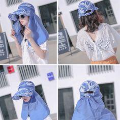 Women Foldable Wide Brim Face Mask Waterproof Beach Sun Hat Outdoor Cycling  Anti-UV Visor Cap is designer b8aacc39153b