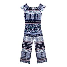 From bluezoo's fantastic range of children's clothing, this jumpsuit is uplifted with a patchwork floral design in navy, green and pink hues. Designed with a pretty gypsy neckline, it is finished with a gathered waist and short sleeves. Team with lace-up boots.