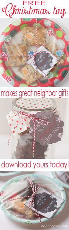 Free printable #Christmas tag on iheartnaptime.net ...great for neighbor gifts!