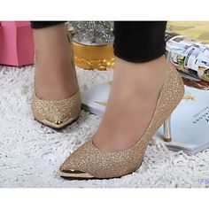 Women's Shoes Leather Kitten Heel Heels/Pointed Toe/Closed Toe Pumps/Heels Dress/Casual Black/Green/Red/Beige – USD $ 24.99