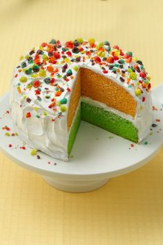 The Kids Will Love This Bright Colored Cake With Trix Cereal Best Birthday