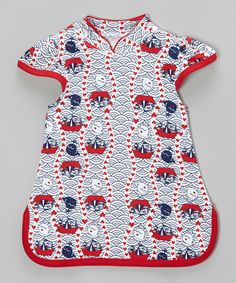 Take a look at this White & Red On the Sea Organic Mandarin Dress - Infant & Toddler on zulily today!