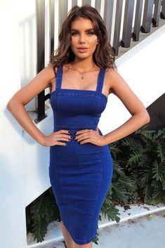 8bc11187d015 Bright Blue Denim Bodycon Midi Dress  fashion  clothing  shoes  accessories   womensclothing  dresses (ebay link)