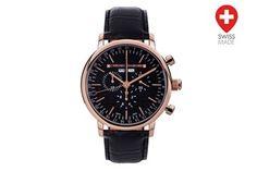 Relógio quartzo de couro e diamantes Argos Preto e dourado rosa