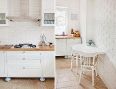 Kuchnia wiele zyskuje dzięki białym cegłom, które w bardzo subtelny sposób…