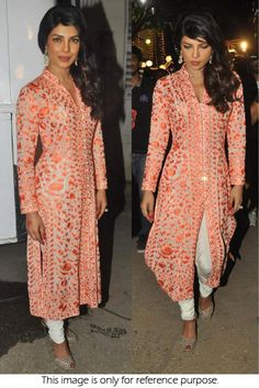 Bollywood Style Priyanka Chopra 60 GM Georgette and Tasar Suit In Peach Colour NC1301