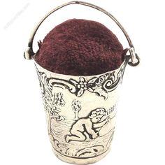 Antiques Atlas - Antique German Silver Bucket Pin Cushion - Cherubs