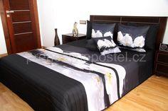 Černý 3D přehoz na postel s motivem orchidejí