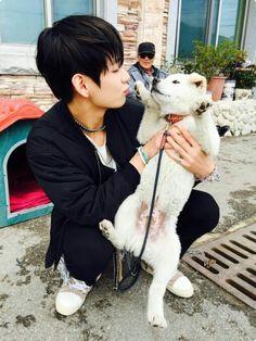 Resultado de imagem para fotos do taehyung com cachorrinho
