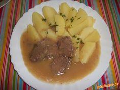 Cibulová omáčka s hovězím masem Beef, Kitchen, Meat, Cooking, Kitchens, Cuisine, Cucina, Steak