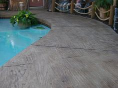 Deckrete Concrete Resurfacing & Waterproofing - South El Monte, CA, United States. Pool Deck - Wood Design Stamped Concrete Overlay