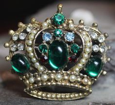 Vintage Jelly Belly Jeweled Crown Rhinestone Queens Brooch Pin | eBay