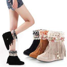 Women Floral Tassel Wedge Short Boots