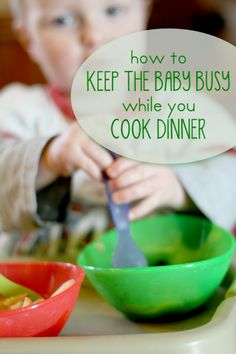 How to keep the baby busy while you're cooking dinner - simple and quick ideas to use! (Hands On As We Grow) Toddler Fun, Toddler Preschool, Infant Activities, Activities For Kids, Activity Ideas, Baby Play, Baby Kids, Everything Baby, Business For Kids