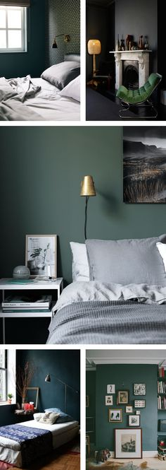 I've always gravitated towards light and airy interiors but lately I've  been seduced by the dark side. Shades of green to be exact. I've rounded up  some of my favourite spaces below. I'm loving the look of warm wood and  hints of gold against this inviting colour. - Amy  1. via Catherine Kwong Design  2. via Location 78  3. via Hitta Hem  4. via Apartment Therapy  5. via DesignSponge, Anna Potter's Home